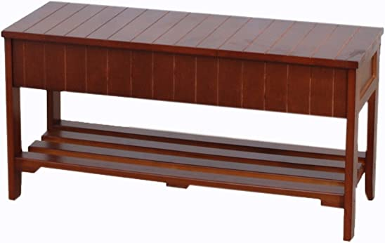 Roundhill Furniture Quality Solid Wood Shoe Bench