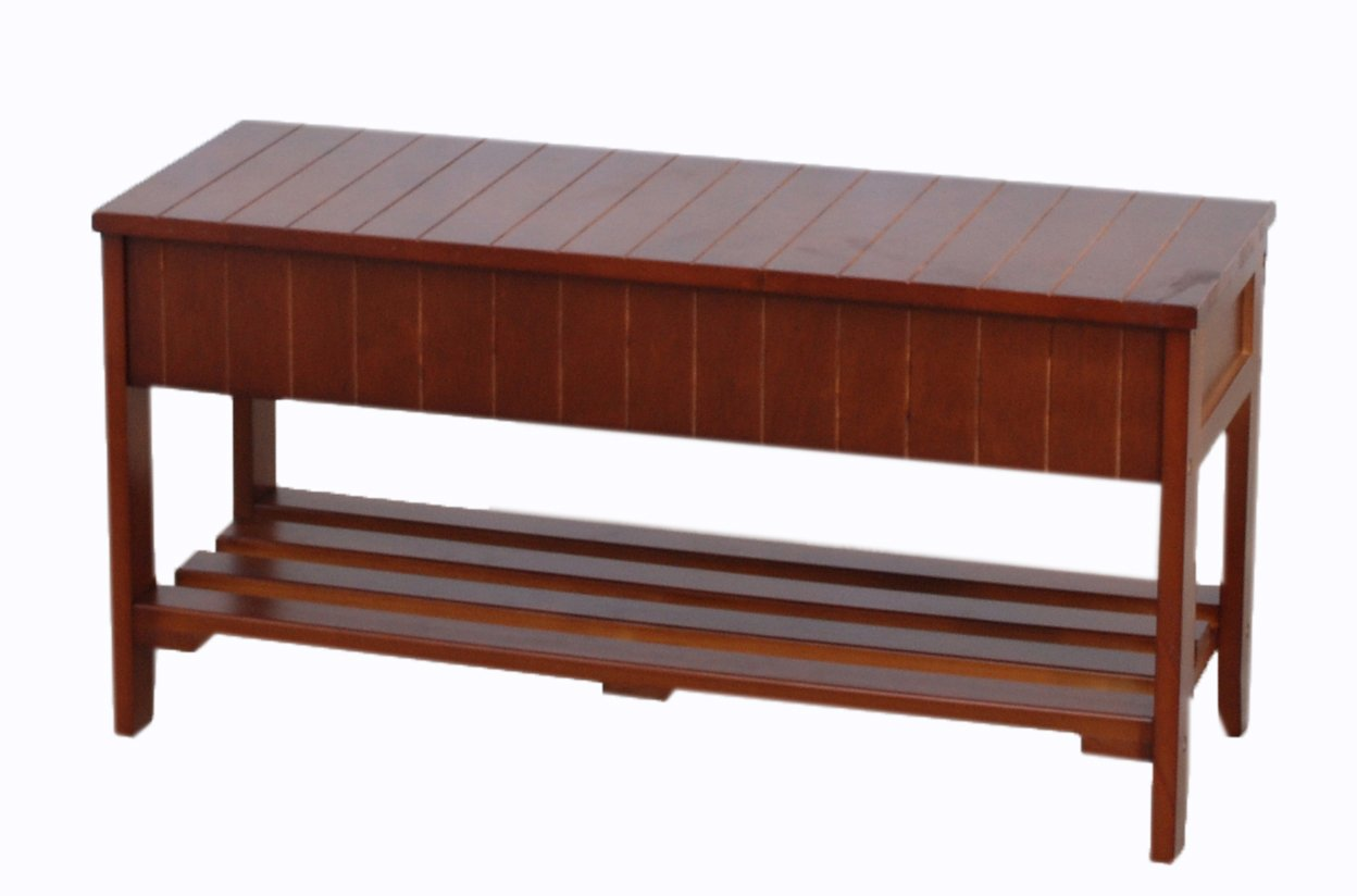 Roundhill Furniture Quality Solid Wood Shoe Bench with Storage, Cherry