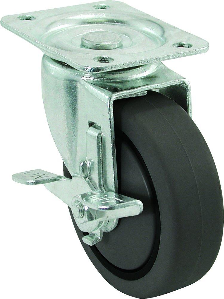 Rubber Wheel with Brake 325-lb Load Capacity Shepherd Hardware 9020 5-Inch Swivel Plate Caster