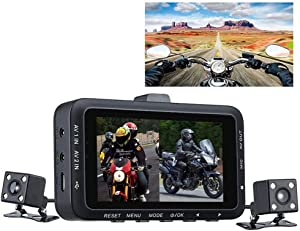 """JAYE Motorcycle Dash Cam,Motorcycle Driving Recorder High Definition 3.0"""" 1280P 480P Dual Camera Motorbike DVR Dash Cam, Day & Night Vision Outdoor Driving, Travel"""