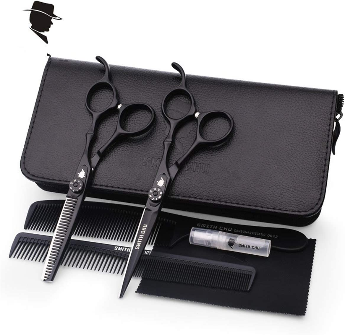 XUEE Juego de Tijeras de peluquería Profesional Deep Black de 7.0 Pulgadas, Negro sólido con Estuche + Peine + Dos Inserciones de Dedos, Juego: Amazon.es: Hogar