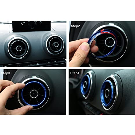 4Pcs Car Interior Vent Outlet Rings Cover Trim Aluminum alloy For Audi A3 Red TOOGOO R