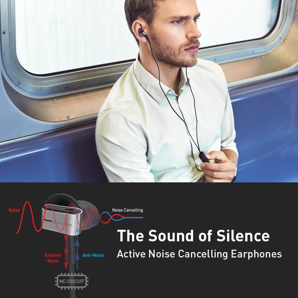 Silver Phiaton PS202NC Noise Canceling In-ear Headphones Earbuds