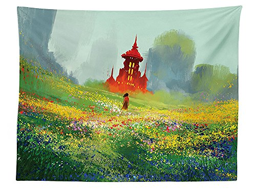 House Decor Tablecloth Lady in Floral Field Meadow to Old Castle before the Scary Mountain Dining Room Kitchen Rectangular Table Cover Red Green (International First Lady Castle)