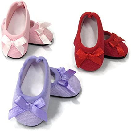 Red Ballet Flats Shoes w//Bow for 14 inch American Girl Wellie Wishers Dolls