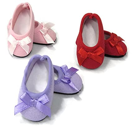 8beaf84cfa8f0 3 pack Ballet Flat Shoes for 14 inch American Girl Wellie Wishers Doll