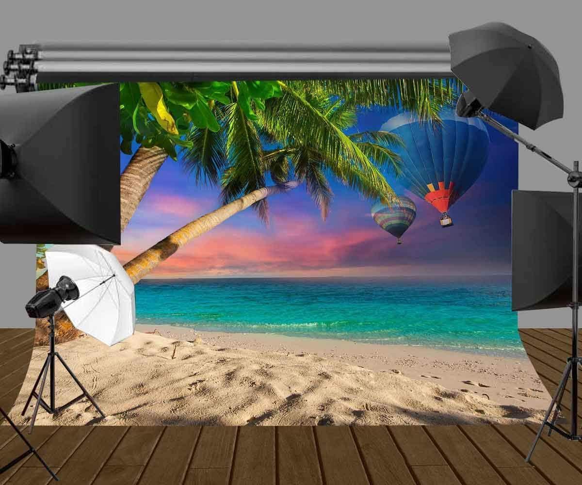 GoHeBe 7x5ft Seascape Backdrop Blue Ocean Beach Hot Air Balloon Nature Photography Backdrop Photo Backdrops Customized Studio Photography Backdrop Background Studio Props LYNAN457
