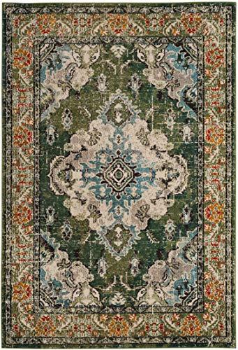 """Safavieh Monaco Collection MNC243F Vintage Oriental Forest Green and Light Blue Distressed Area Rug (5'1"""" x 7'7"""")"""