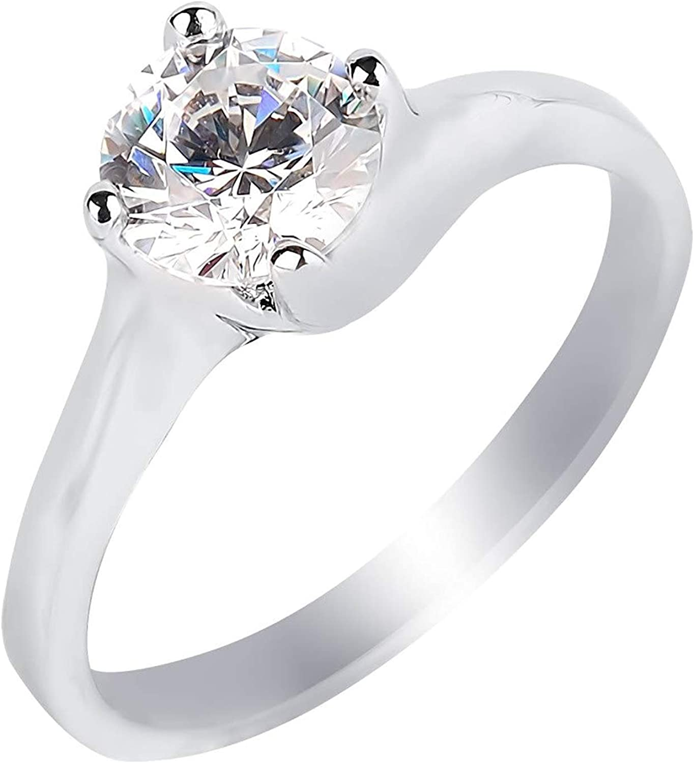 GS /& CO1.80ct Brilliant Cut Solitare Ring in Cubic Zirconia and Sterling Silver 925