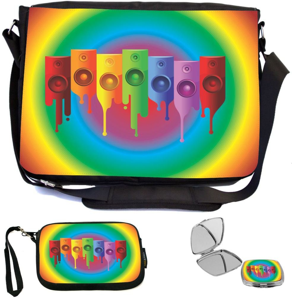 115384b37b Rikki Knight Colored Speakers on Radial Rainbow Design COMBO Multifunction  Messenger Laptop Bag - with padded
