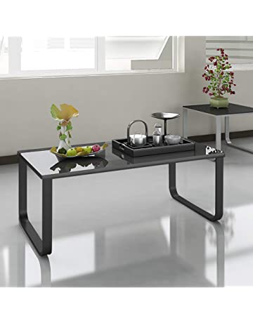 9f9d20c0a7cb TUKAILAI 105 x 55 x 42CM Black Coffee Table 6mm Tempered Glass Top With  Metal Legs