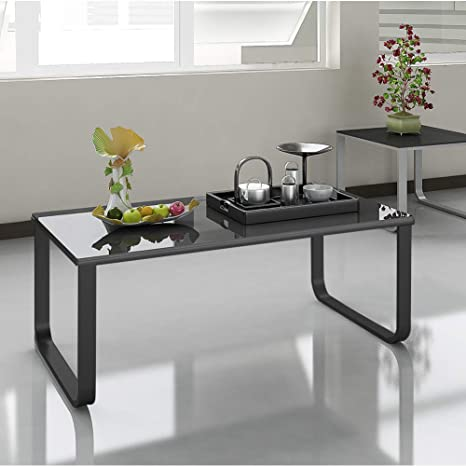 Terrific Tukailai 105 X 55 X 42Cm Black Coffee Table 6Mm Tempered Glass Top With Metal Legs Small End Side Sofa Table Coffee Table Living Room Bed Room Andrewgaddart Wooden Chair Designs For Living Room Andrewgaddartcom