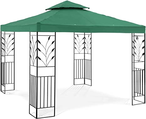 Uniprodo Pérgola De Metal Pabellón para Terraza Uni_PERGOLA_3X3G (Toldo de 3 x 3 m, 180 g/m², Altura Total: 2, 60 m, Verde Oscuro): Amazon.es: Jardín