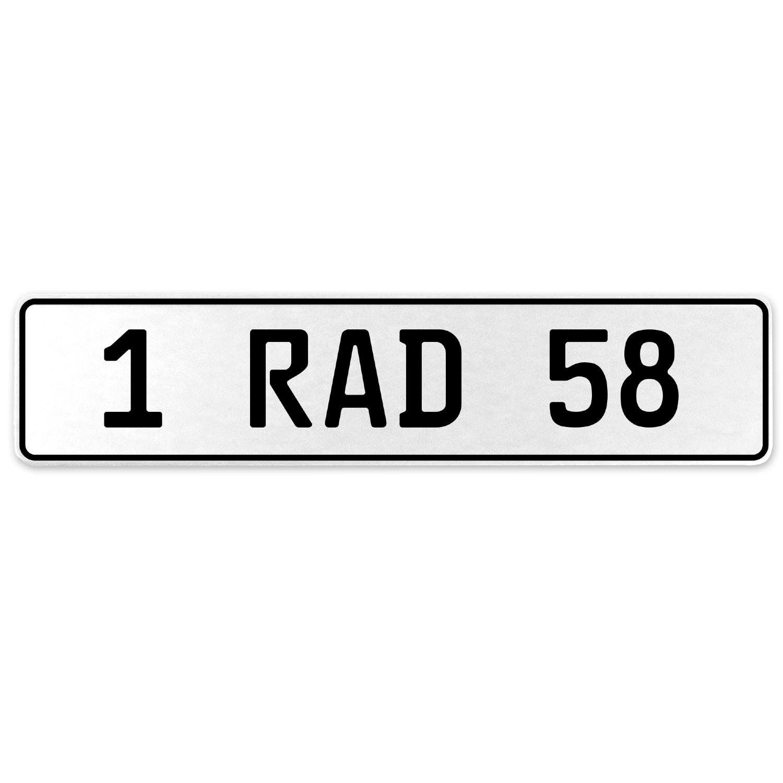Vintage Parts 554061 1 RAD 58 White Stamped Aluminum European License Plate
