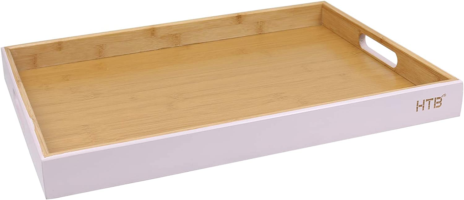 Rectangular Serving Tray with Handle by HTB, Pink Bamboo Food Trays 16.9 x 12.2 Inch for Breakfast Party Wedding Coffee Table Ottoman Decor