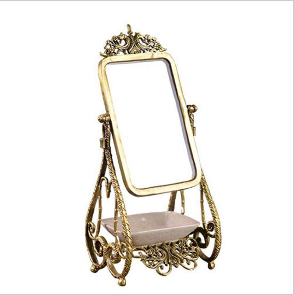 ZXLIFE Miroir de maquillage ® Miroir européen rétro en bronze Miroir de table en cuivre antique Miroir de maquillage