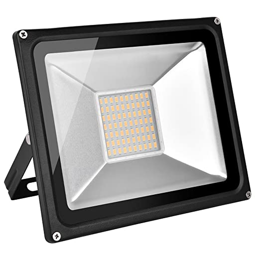 Foco proyector LED 50W para exteriores, 3500LM, Blanco cálido ...