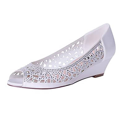 ea2f80ace ERIJUNOR E1606 Women Peep Toe Pumps Comfortable Low Heel Wedges Sparkle  Rhinestone Wedding Bridal Shoes Ivory