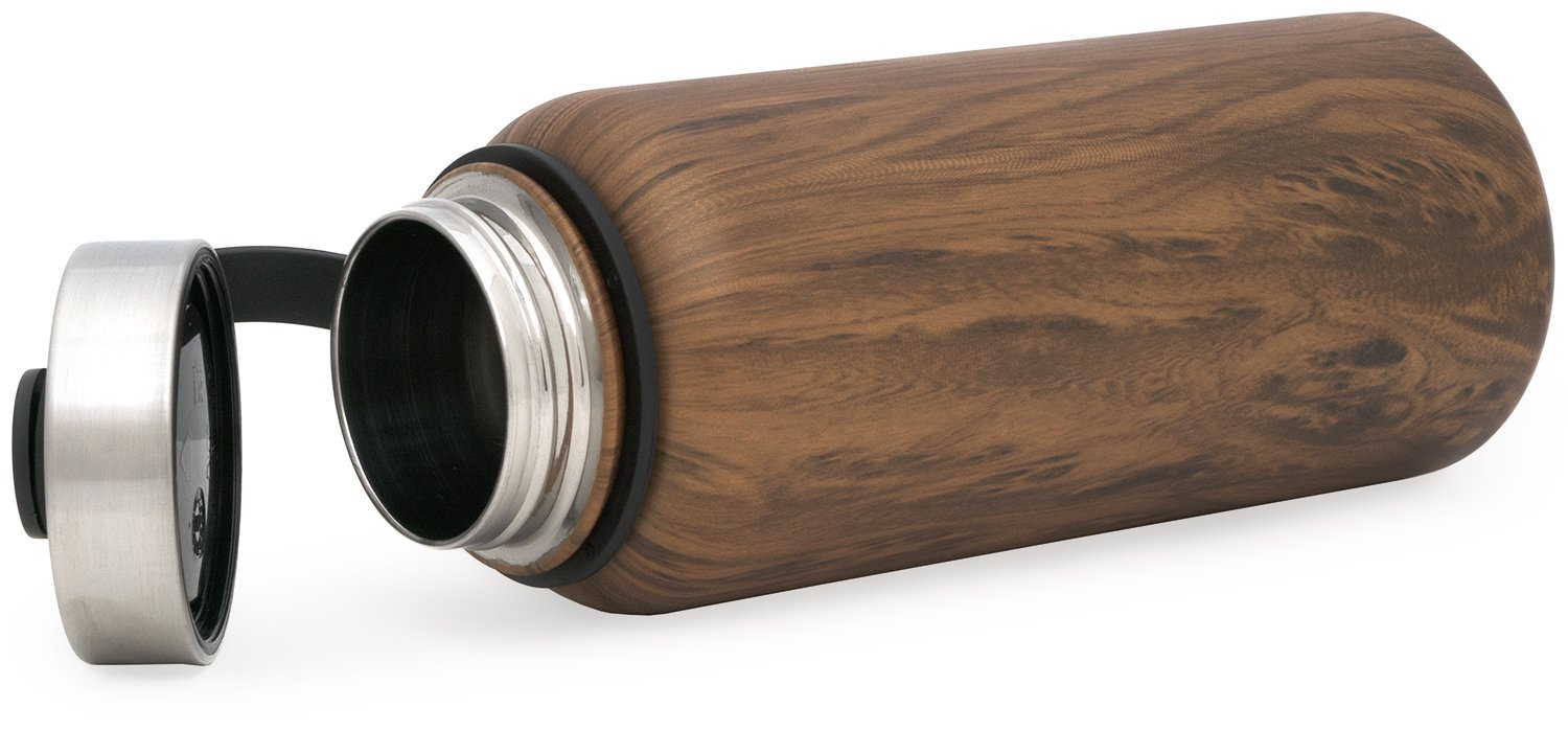 Simple Modern 22 oz Summit Water Bottle - Stainless Steel Hydro Metal Flask +2 Lids - Wide Mouth Double Wall Vacuum Insulated Large 2 Liter Half Gallon Cold Leakproof Thermos - Wood Grain by Simple Modern (Image #5)