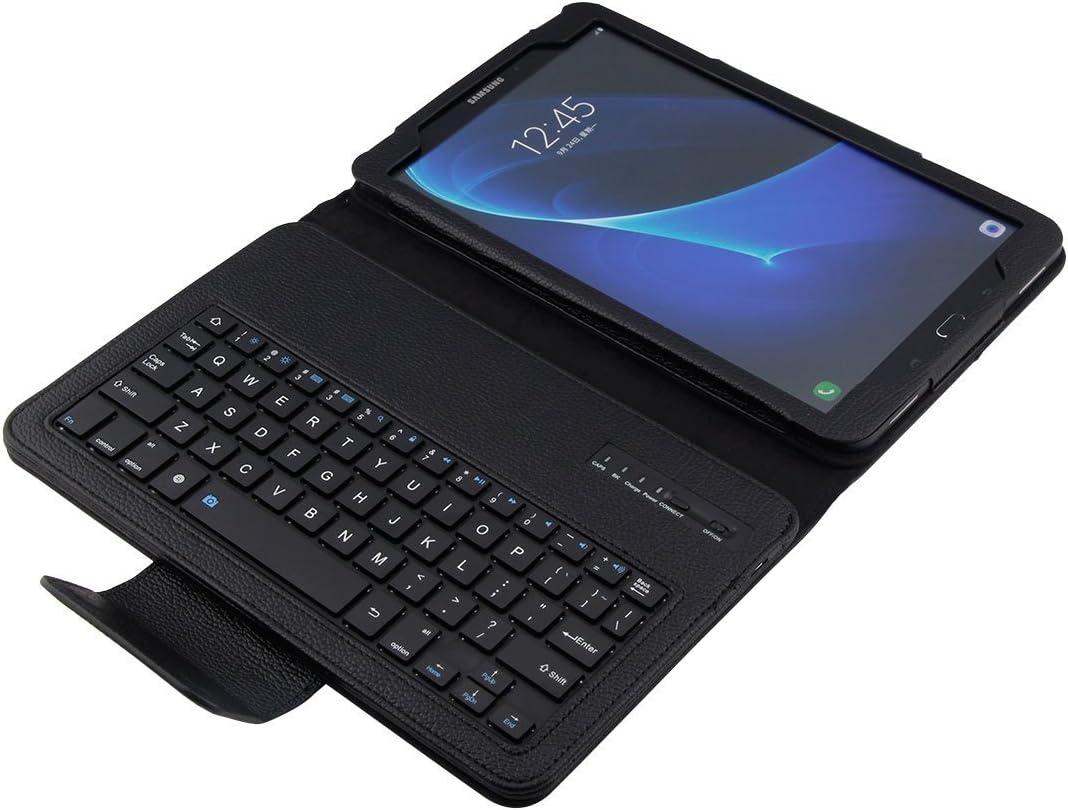 Funda con Teclado en español (Incluye Letra Ñ) conexión Bluetooth y Extraíble para Tablet Samsung Galaxy Tab A 2016 10.1 T580 / T585 - Color Negro