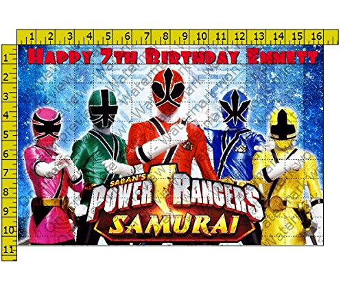 (Power Rangers Samurai Blue Birthday Party Edible Frosting Image 1/2 sheet Cake Topper)