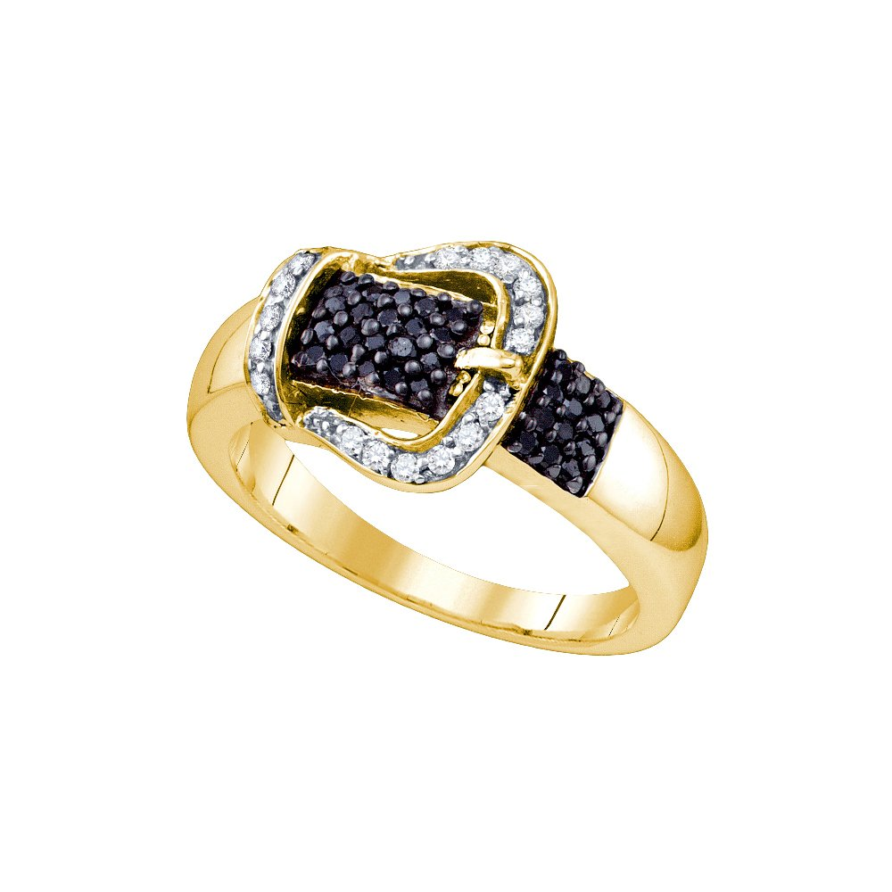 Size 9 - Yellow-tone 925 Sterling Silver Round Black Diamond Band Ring (1/3 Cttw)