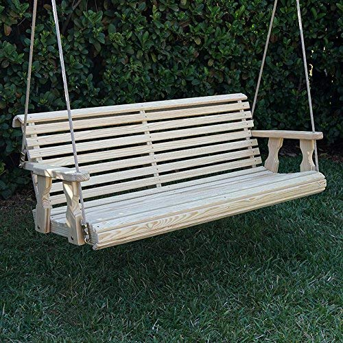 CAF Amish Heavy Duty 800 Lb Roll Back Treated Porch Swing with Hanging Ropes 4 Foot, Unfinished