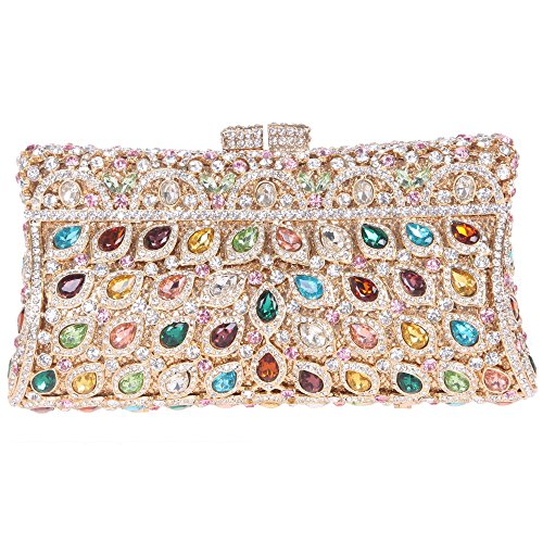 Fawziya Luxury Crystal Clutch Purse Rhinestone Evening Bag-Multicolor