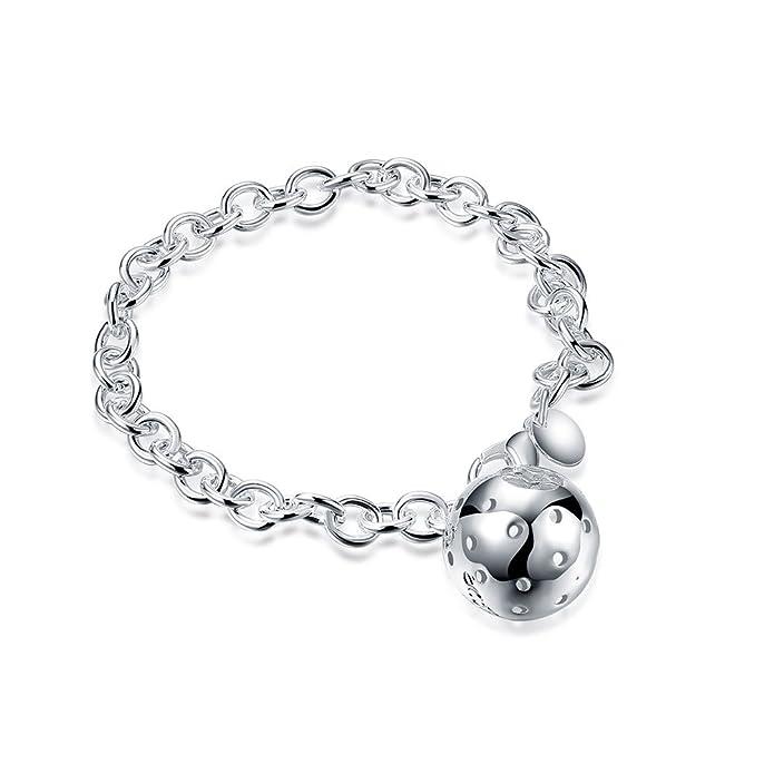 Silber PL Armkettchen Damen-Schmuck Armband Kugeln ARMBAND Geschenk Versilbert