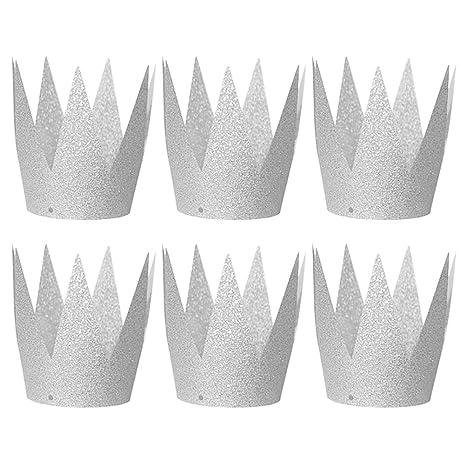 TOYMYTOY Mini Cappello Cappellini Corona glitter da principessa per le feste  e party in Argento 6PCS 335bfd653742