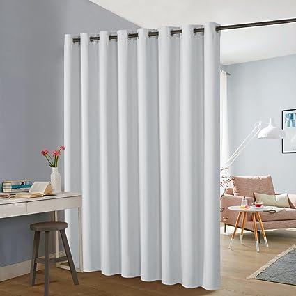 PONY DANCE Room Divider Curtains   Bedroom Partition Sliding Loft Extra  Wide Blackout Curtains Portable Panel