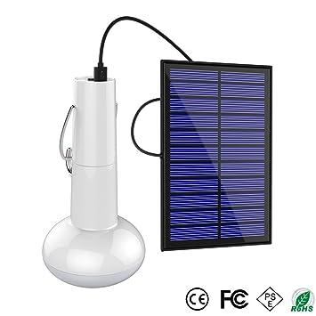 HOMYY Bombilla Solar Portátil LED para Colgar con Panel Solar Resistente al Agua para el hogar