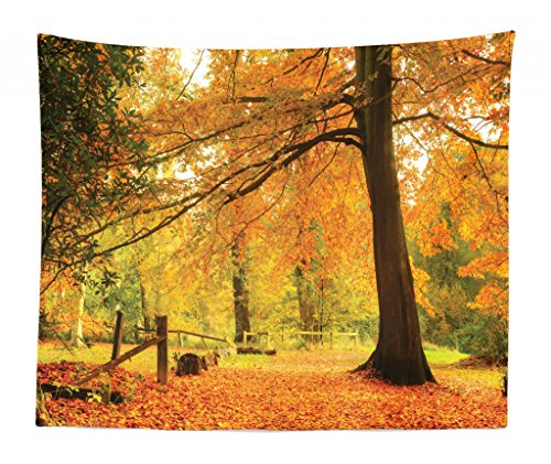 Lunarable Forest Tapestry King Size, Autumn Fall Forest Scene Vibrant Colors Pale Leaves Tranquil Peace Nature, Wall Hanging Bedspread Bed Cover Wall Decor, 104 W X 88 L Inches, Orange ()