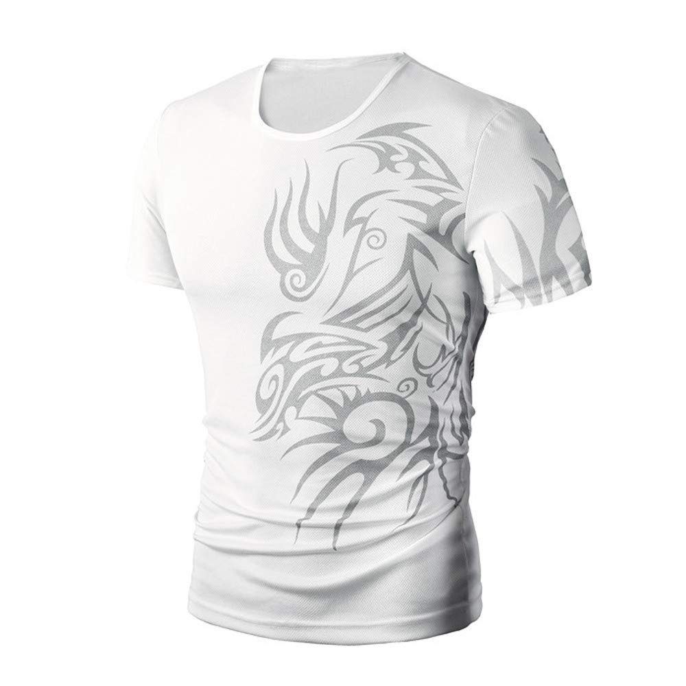 PASATO Men Summer Round Neck Tee Printing Men's Short-Sleeved T-Shirt Top Blouse(White,M=US:S) by PASATO Blouse For Men (Image #2)