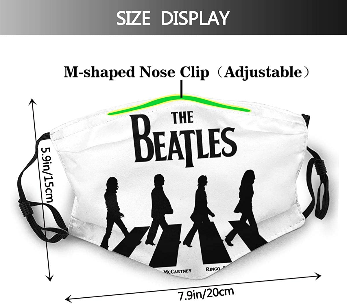 TONGHUJ Meaning Beatles Logo Mens Womens with Replaceable Filter Mouth Cloth Splash Proof Congested