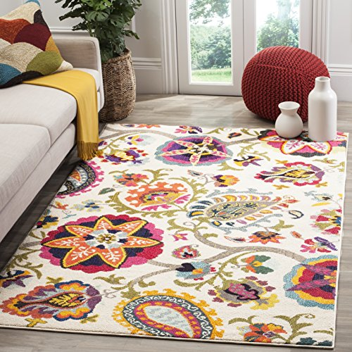 Safavieh Monaco Collection MNC229A Modern Colorful Floral Ivory and Multicolored Area Rug (3' x 5') (Floral Rugs Area)