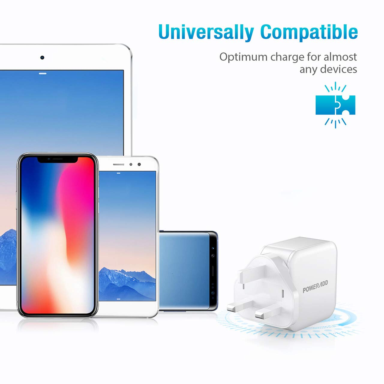 Poweradd USB Plug Charger-24W Dual Port USB Charger 2.4A Output Wall Chargers Power Adapter Compatible with iPhone 11 Pro/XS Max/XR/X/8 Plus, Galaxy, HUAWEI, HTC, Motorola, LG and More-White
