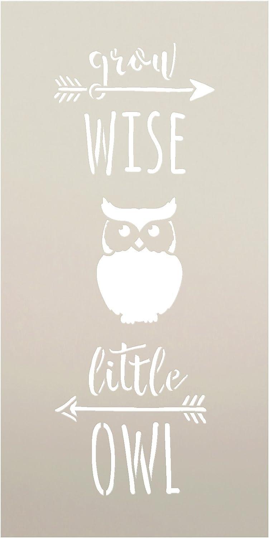 Grow Wise Little Owl Stencil by StudioR12 | Arrow Word Art | Reusable Mylar Template Paint Tall Wood Sign | Craft Rustic Farmhouse Nursery Home Decor | DIY Inspiration Cursive Script Gift Select Size