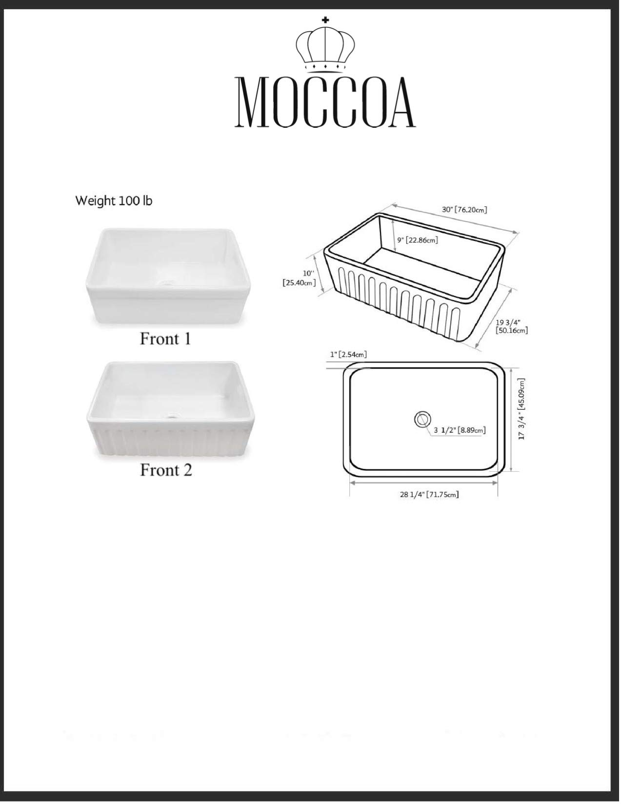 TRUE FIRECLAY Stria Reversible 30'' Apron Front Sink by MOCCOA, Farmhouse Kitchen Sink White … by MOCCOA (Image #8)