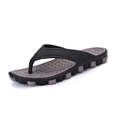 U.Buy Herren Damen Pantoffeln Pantoletten Zehentrenner Unisex Hausschuhe Sommer Schuhe Aus Gummi Anti-Rutsch Grau,45