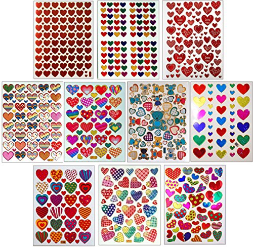 Jazzstick 10-Sheet Valentines Heart Stickers Glitter Red & C