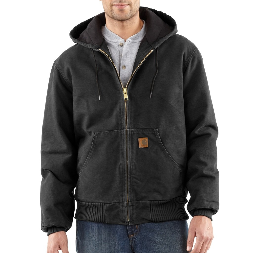 Carhartt Men's Quilted Flannel Lined Sandstone Active Jacket J130,Black,XX-Large
