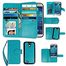 Case for Samsung Galaxy S4, xhorizon Premium Leather Folio Case [Wallet Function] [Magnetic Detachable] Fashion Wristlet Lanyard Hand Strap Purse Soft Flip Book Style Multiple Card Slots Cash Compartment Pocket with Magnetic Closure Case Cover Skin ZA5 for Samsung Galaxy S4 (I9500) - Blue