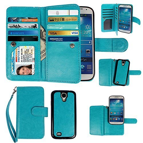xhorizon Leather Folio Hand Strap Purse Flip Book Magnetic Closure Case with Multiple Card Slots for Samsung Galaxy S4 (I9500) - Blue