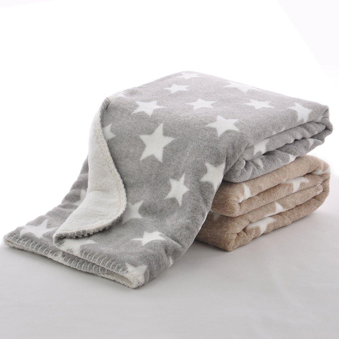 YUENA CARE Baby Blanket Soft Kids Coral FLeece Blanket Plush Star Toddler Blanket 2 Layer Brown