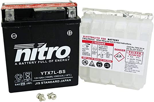 Nitro Lg150 x L65 x H93 pronta allUso Batteria 12 V 6,5 Ah yt7b-4 Senza Manutenzione Gel
