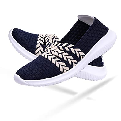 5b37d4f2a7310 DAYOUT Women's Woven Wedge Slip On Comfort Lightweight Walking Shoes  Handmade Elasticized Woven Shoes