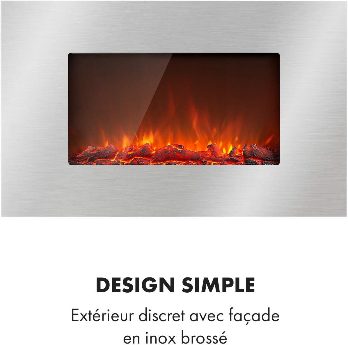 Largeur: 90 cm 2 r/églages de Chauffage Effet de Flamme Montage Mural INOX KLARSTEIN Lausanne Chemin/ée /électrique : Puissance: 2000W t/él/écommande fa/çade en INOX luminosit/é r/églable