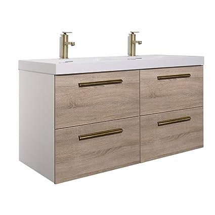 Randalco 48 Inch Double Bathroom Vanity Cabinet Set | Floating Vanity +  Ceramic Bathroom Sink +