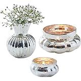 3 Teile Tisch-Dekorations-Set Shabby Chic Antik-Look - 1 Vase & 2 Teelicht-Gläser Silber-Farben - Party-Deko Set Vintage / Geburtstag / Hochzeits-Dekoration / Weihnachten / Tisch-Deko